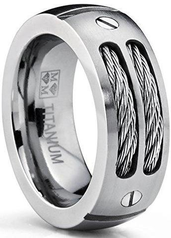 Men's Stainless Steel Cables Screw Titanium Wedding Band