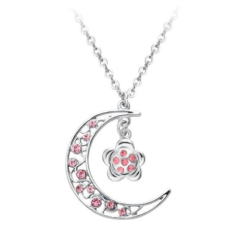 Silver-tone Crescent Moon Pink Crystal Floral Necklace