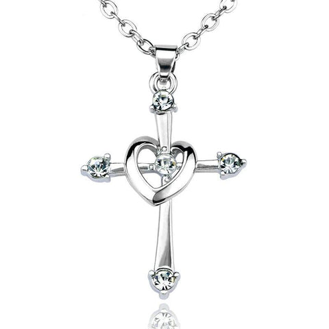 Sterling Silver Heart Ring Crystal Tip Cross Necklace