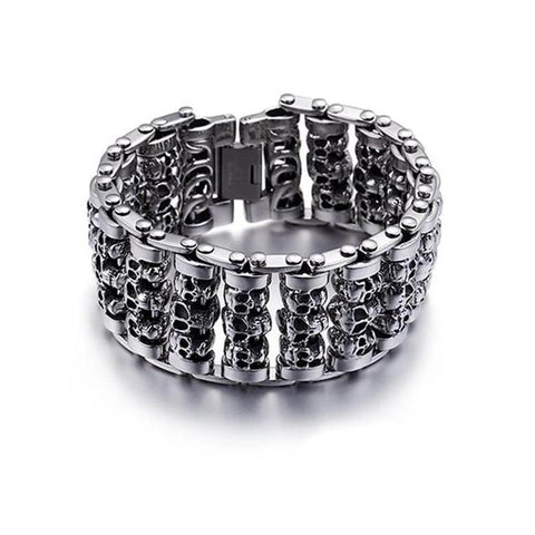 Thick Roller Skull Stainless Steel Bracelet (2 Available Color)