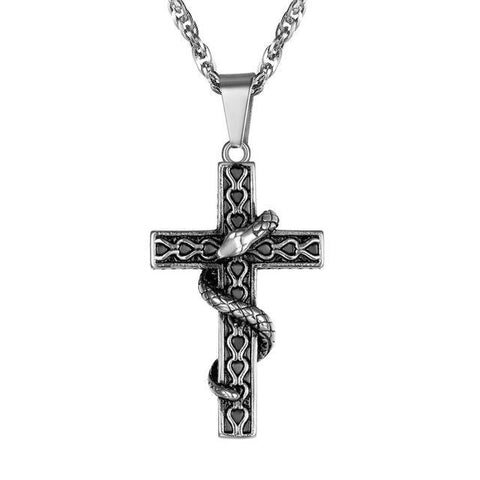 Snake Christian Cross Chain Engraved Steel Necklace