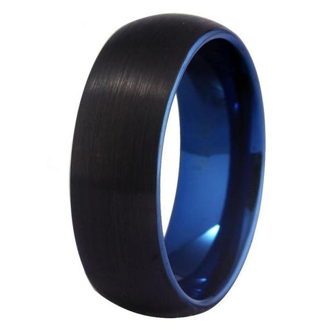 Brushed 8mm Dome Black & Blue Tungsten Carbide Ring