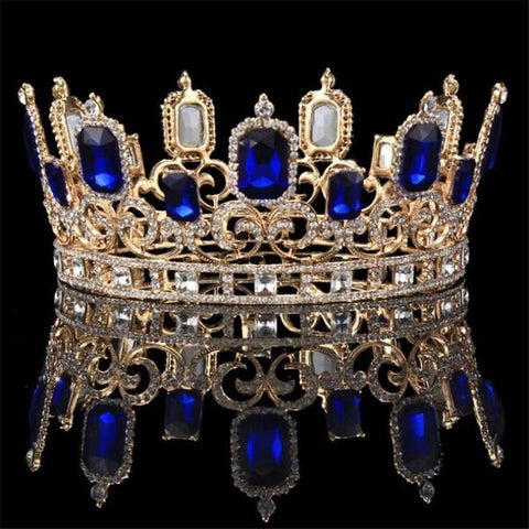 Vintage Blue & Gold Color Crystal Tiaras
