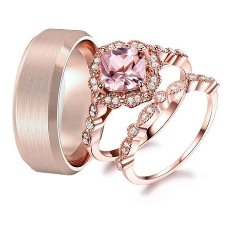 3PC Halo Set Rose Gold Stainless Steel Ring Set