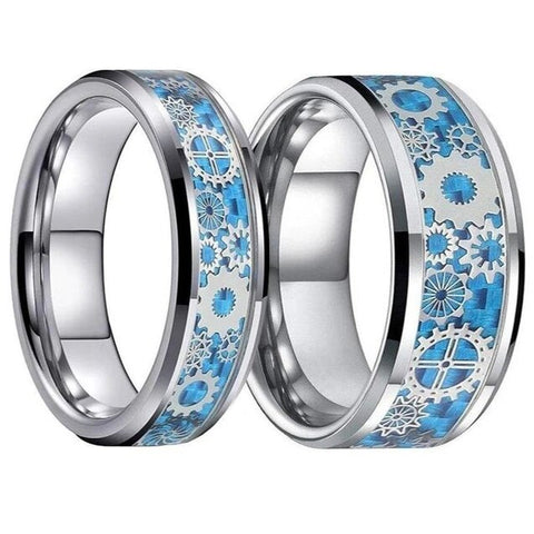 Silver & Blue Gear Inlay Tungsten Carbide Ring Set