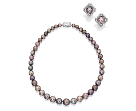 Rare Natural Pearl and Diamond Necklace, Earring Set by Cartier