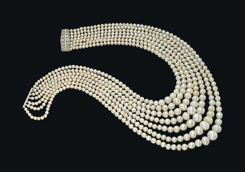 "The 7-Strand ""Festoon"" Natural White Pearl Necklace"