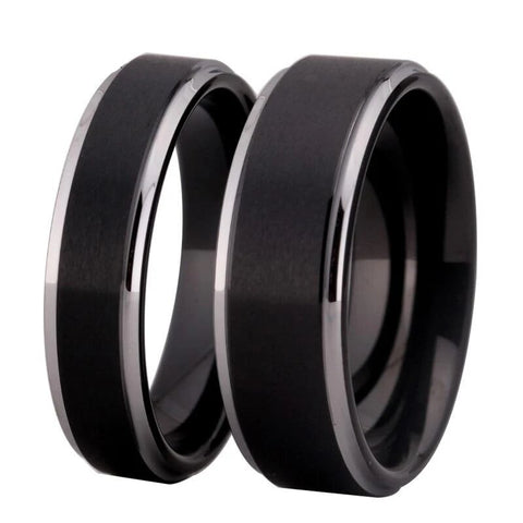 Matted Center Beveled Edge Black Tungsten Ring Set