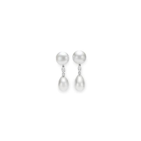 Natural Pearl and Clear Diamond Earrings by BVLGARI