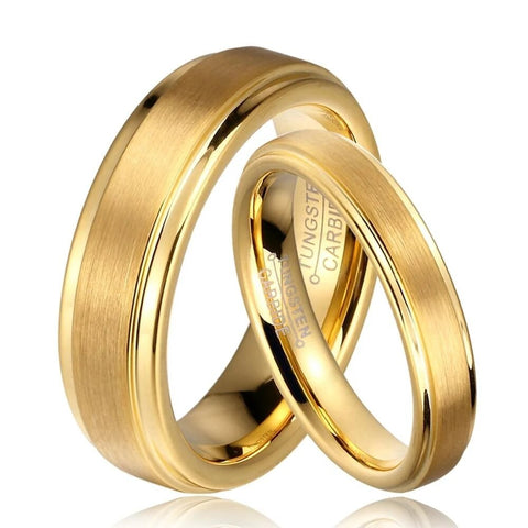 Brushed Center Gold Tungsten Carbide Ring Set
