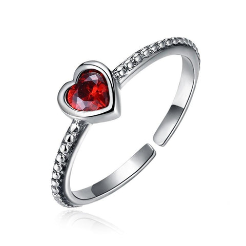 Sterling Silver Red Heart Crystal Open Ring