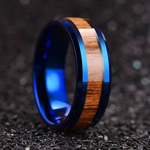 Blue Tungsten with Beveled Edge and Wood Inlay Wedding Ring