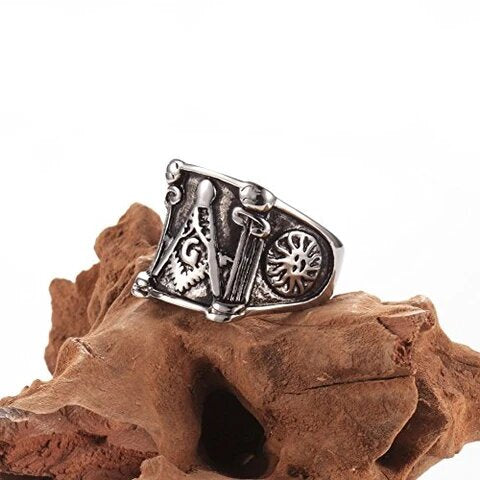 Men's Stainless Steel Gothic Biker Mason Signet Ring