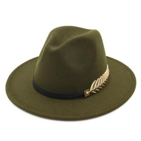 Gold-Tone Feather Hatband Wool Fedora Hat (10 Available Colors)