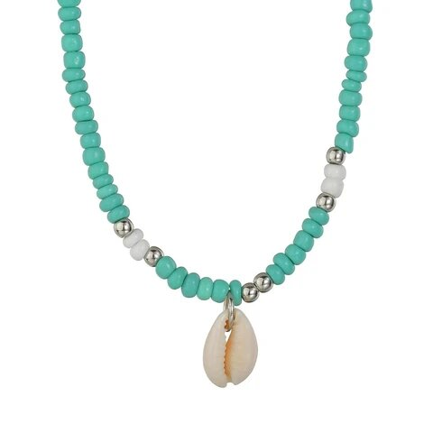 Blue Green White Beaded Puka Shell Pendant Necklace