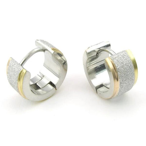 Men's Stainless Steel Stud Hoop Earrings Set