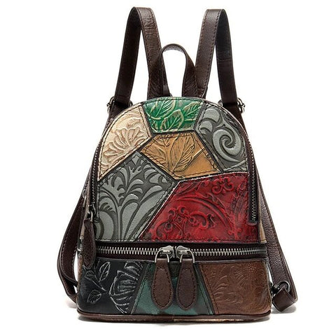 Petite Backpack with Embossed Floral Patterns Leather