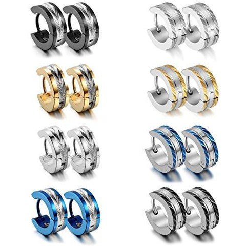 8 Sets Silver Plated Stainless Bordered Huggie Earring