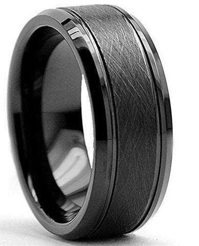 Classic Black Brushed Tungsten Carbide Wedding Ring for Men