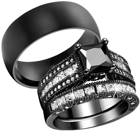 Old-fashioned Cushion Cut Black Stainless Ring Set