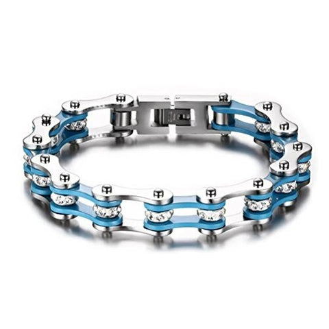 Blue Silver Stainless Bicycle Chain with Rhinestone