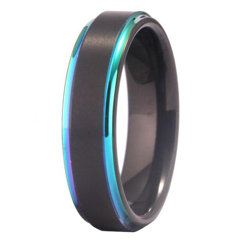 Aurora Edge Black Tungsten Carbide Wedding Band (