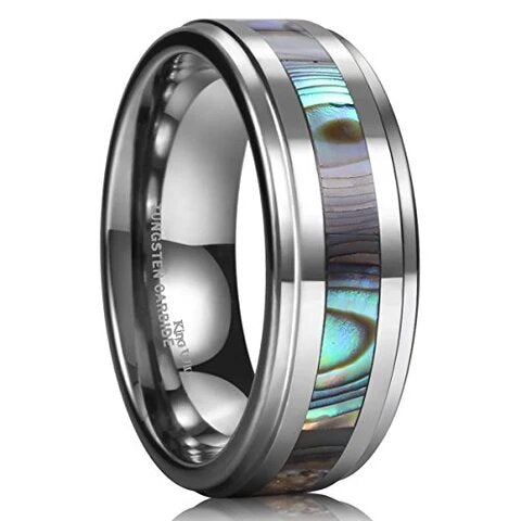 Tungsten Carbide with Abalone Shell Inlay Polished Finish Wedding Band