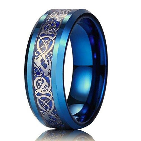 Blue Carbon Fiber Silver Celtic Dragon Tungsten Carbide Wedding Band