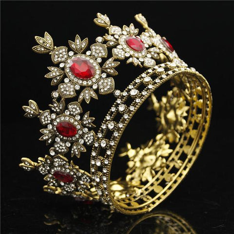 Baroque Gold and Red Crown Tiara for Brides