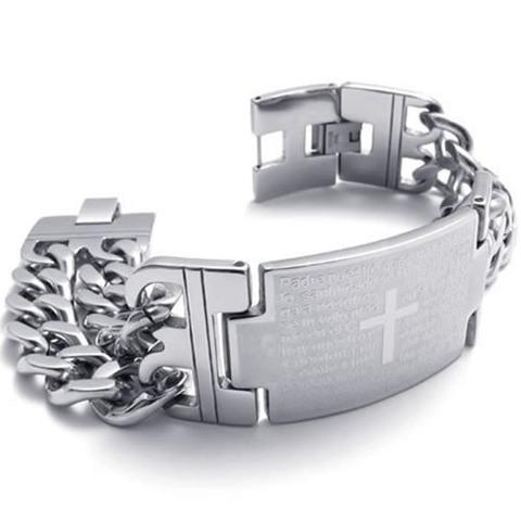 Stainless Steel Cross Prayer Link Chain Bracelet