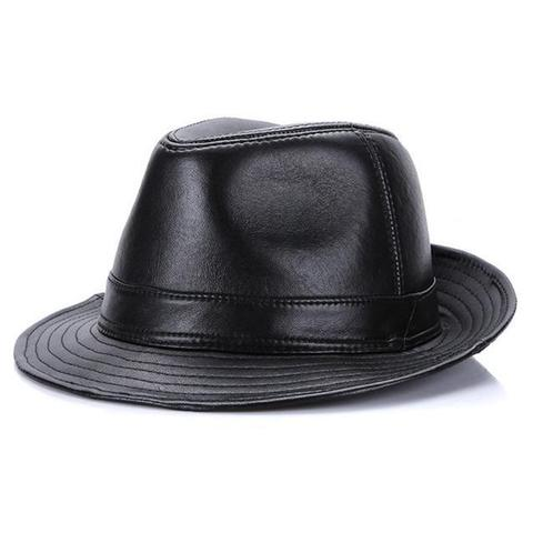 Sleek Faux Leather Trilby Hat (3Available Colors)