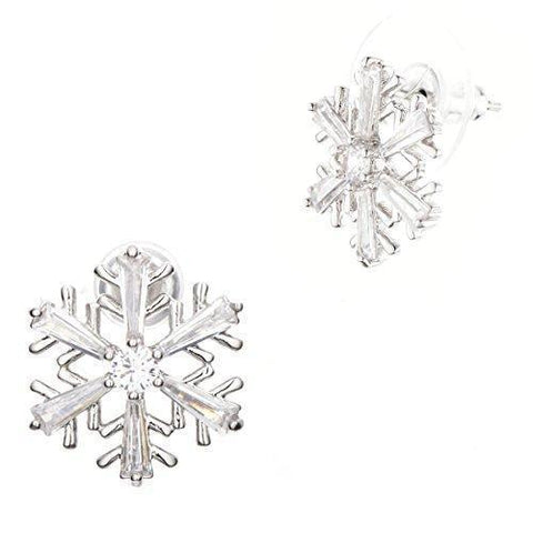 Crystal 316L Stainless Steel Snow Flake Stud Earrings