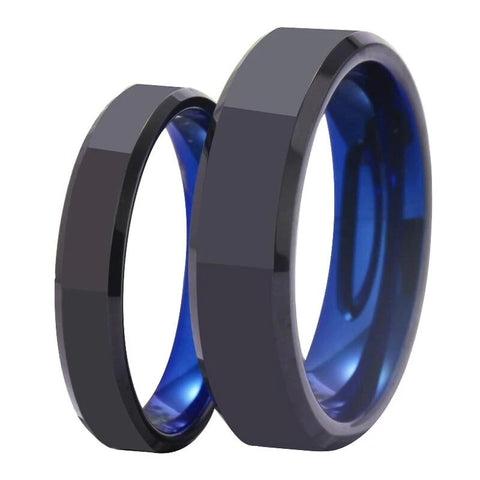 Geometric Black & Blue Tungsten Carbide Ring Set