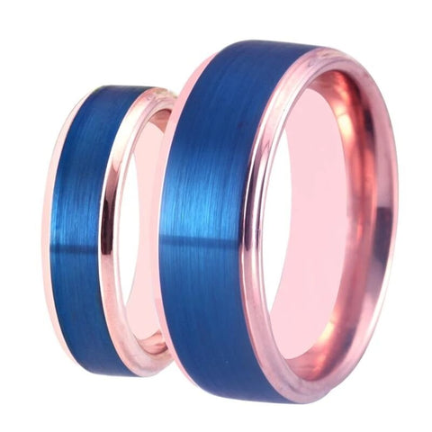 Blue & Rose Gold Tungsten Carbide Ring Set
