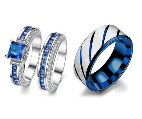 Ribbed Silver & Blue Zirconia Stainless Ring Set
