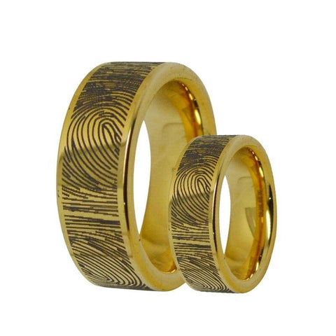 2PC Finger Print Gold Tungsten Ring Set