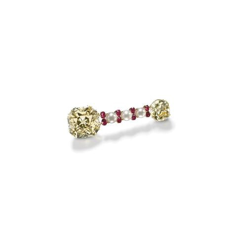 Colored Diamond, Ruby, Cultured Pearl Brooch