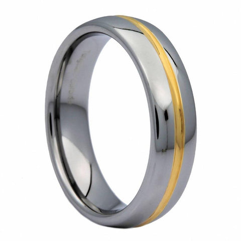 Gold Middle Groove Silver Tungsten Carbide Ring