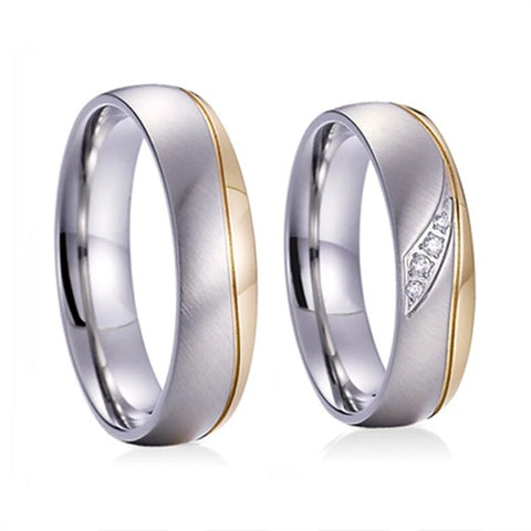 Silver & Gold Titanium Wedding Band Set