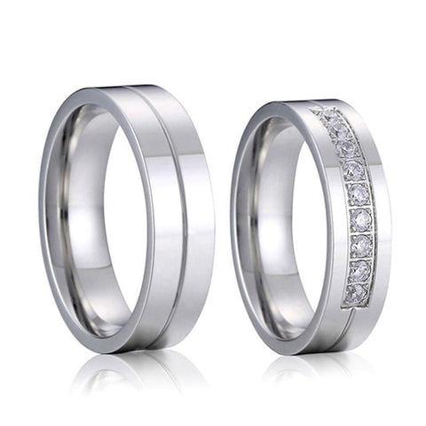 His & Her CZ Titanium Ring Set