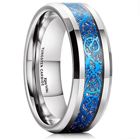 Blue & Silver Celtic with Meteorite Inlay Ring