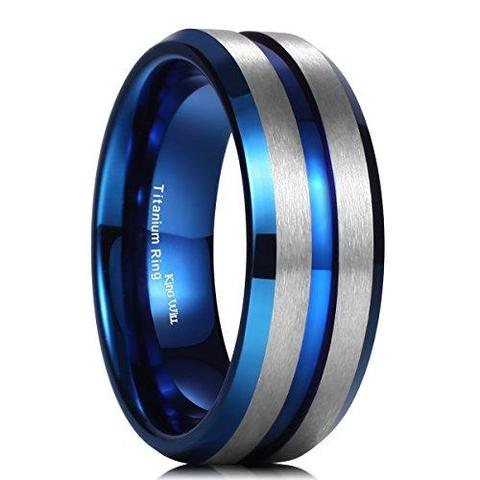 Brushed Matte Blue Thin Groove Titanium Wedding Band For Men
