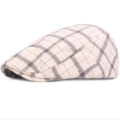 Adjustable Retro Plaid Polyester Peaky Cap