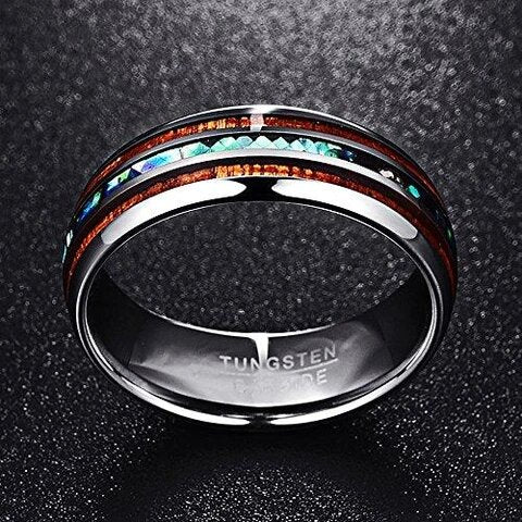 Tungsten with Abalone Shell and Koa Wood Inlay Wedding Band