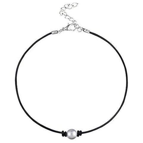 Black PU Leather Cord Pearl Choker Necklace