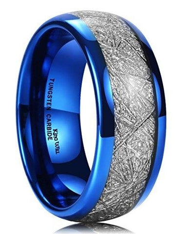 Blue Tungsten Carbide Ring Meteorite Inlay Domed Wedding Band
