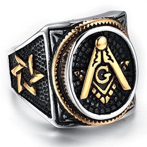 Men's Stainless Steel Tricolor Masonic Ring