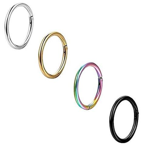4 Piece Set 316L Stainless Steel Clicker Nose Ring