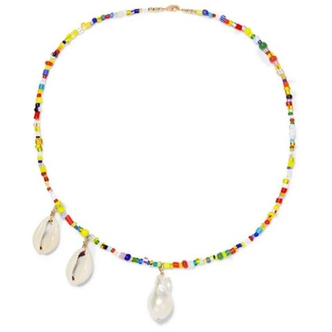 Colorful Beaded Puka Shell Pearl Pendant Necklace