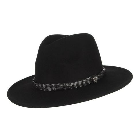 Black Faux Braided Leather Filigree Wool Hat